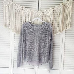 THML Gray Crochet Crewneck Knit Sweater S